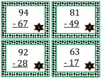 2 Digit Subtraction Task Cards with Regrouping