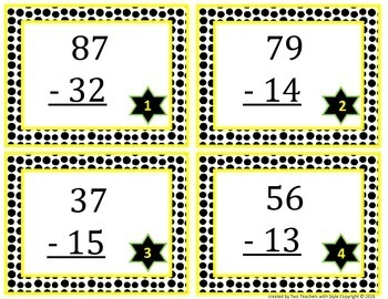 2-Digit Subtraction Task Cards without Regrouping