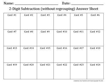 2 Digit Subtraction Task Cards without Regrouping