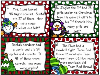 Christmas 2-Digit Subtraction Task Cards/Scoot Game (with/without regrouping)