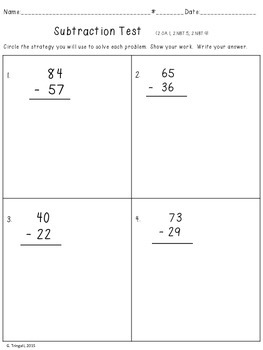 2 Digit Subtraction Test with number line, base ten, 100 board