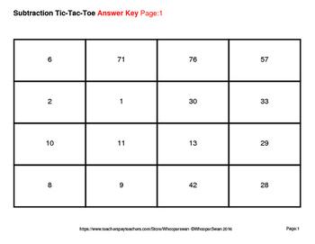2-Digit Subtraction Tic-Tac-Toe