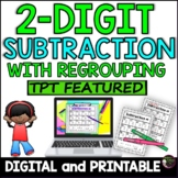 2-Digit Subtraction WITH Regrouping Worksheets  with Math Jokes