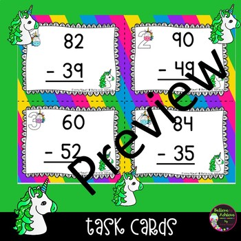 2 Digit Subtraction WITH regrouping (Unicorn theme) Task Cards