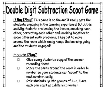 2 Digit Subtraction With Regrouping Scoot Game