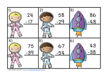 2 Digit Subtraction With Regrouping Task Cards Space Theme