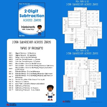 Double Digit Subtraction Regrouping, No Regrouping, With Zeros Worksheets