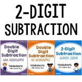 2 Digit By 2 Digit Subtraction With Regrouping, No Borrowing, With Zeros Sheets