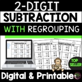 2-Digit Subtraction With Regrouping Worksheets   Digital and Printable