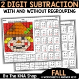 2 Digit Subtraction With and Without Regrouping Fall Math Worksheets