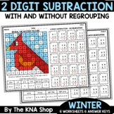 2 Digit Subtraction With and Without Regrouping Winter Mat