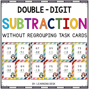 2 digit subtraction without regrouping task cards by learning desk. Black Bedroom Furniture Sets. Home Design Ideas
