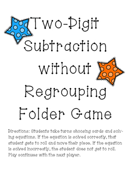 2 Digit Subtraction Without Regrouping Folder Game