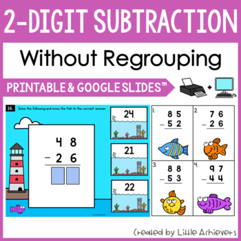 2-Digit Subtraction Without Regrouping Task Cards