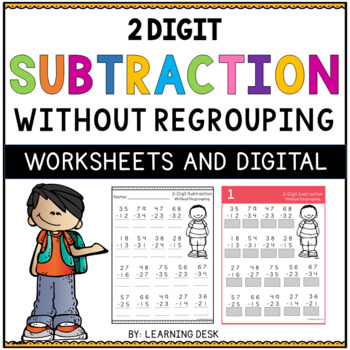 2 Digit Subtraction Without Regrouping Worksheets