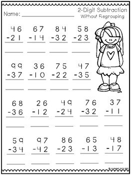 2 Digit Subtraction Without Regrouping Worksheets by ...