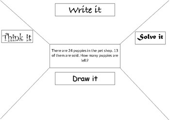 2 Digit Subtraction Word Problem Thinking Grid