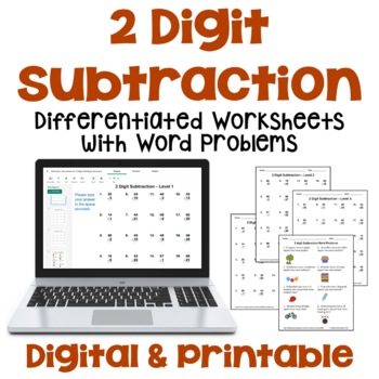 2 Digit Subtraction Worksheets with Regrouping and Word Problems