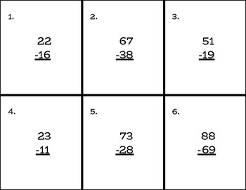 2-Digit Subtraction w/ Regrouping Practice Cards - Color and Black/White