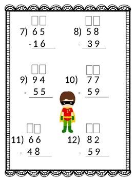 2 Digit Subtraction with Boxes for Regrouping