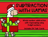 2 Digit Subtraction with Regrouping {Christmas - Llama}