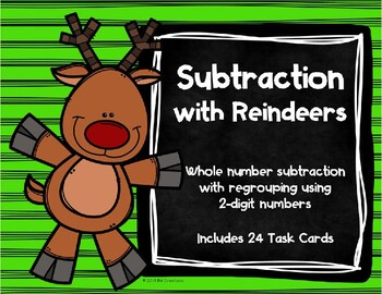 2 Digit Subtraction with Regrouping {Christmas - Reindeer}