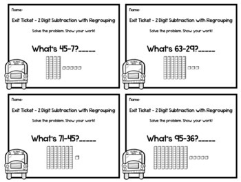 2 Digit Subtraction with Regrouping Exit Tickets -20 Assessments -2nd Grade Math