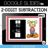2 Digit Subtraction with Regrouping {Fall} Google Slides™