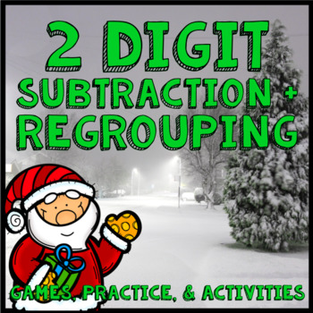 2 Digit Subtraction with Regrouping Math Practice - Christmas, Winter