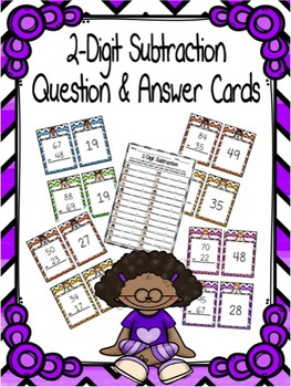2-Digit Subtraction with Regrouping Question and Answer Cards