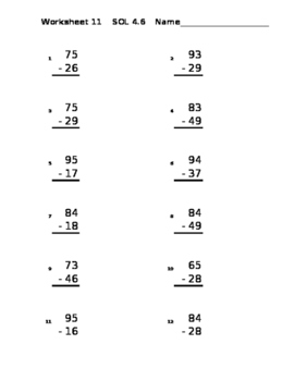 2 Digit Subtraction with Regrouping Random Worksheet