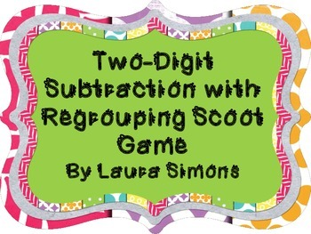 2-Digit Subtraction with Regrouping Scoot Game