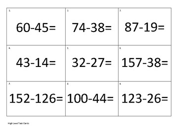 2 Digit Subtraction with Regrouping Task Card Activity with 3 Levels