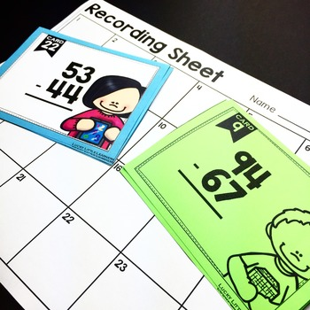 2-Digit Subtraction with and without Regrouping Task Cards