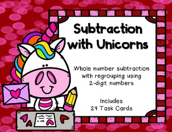 2 Digit Subtraction with Regrouping {Valentine'd Day - Unicorn}