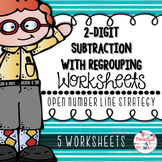 2-Digit Subtraction with Regrouping WORKSHEETS: Open Number Line Strategy