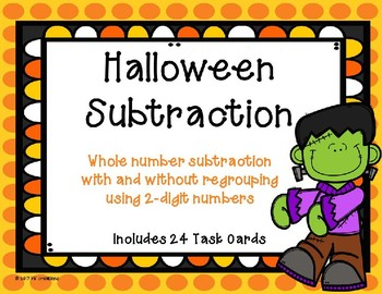 2 Digit Subtraction with and without Regrouping {Halloween Theme}