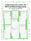 St. Patrick's Day 2 Digit Subtraction (with and without re