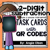 2-Digit Subtraction (with & without regrouping) QR Code Task Cards
