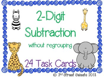 2-Digit Subtraction without Regrouping 24 TASK CARDS (with answer key)