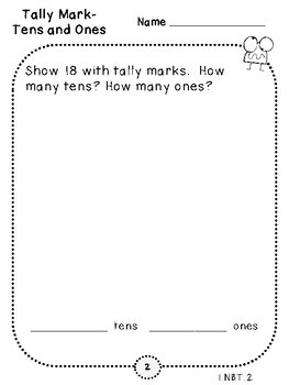 2-Digit Tally Marks Pages (First Grade, 1.NBT.2)