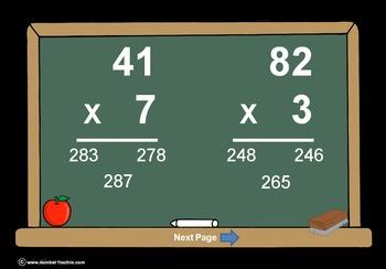 2 Digit Times 1 Digit Multiplication PowerPoint Quiz - Matching Worksheet & Key!