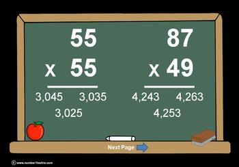 2 Digit Times 2 Digit Multiplication PowerPoint Quiz - Matching Worksheet & Key!