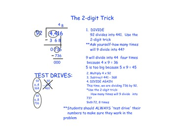 2-Digit Trick: Notes for dividing by two digit numbers