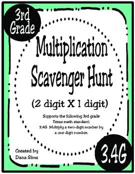 2-Digit X 1-Digit Multiplication Scavenger Hunt (TEKS 3.4G)
