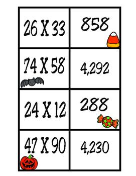 2-Digit X 2-Digit Matching Activity: 4th Grade Math (TEKS 4.4D)