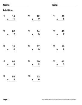 2-Digit and 1-Digit Addition Maze