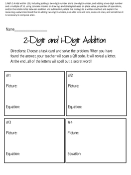 2-Digit and 1-Digit Addition Task Cards with QR Codes