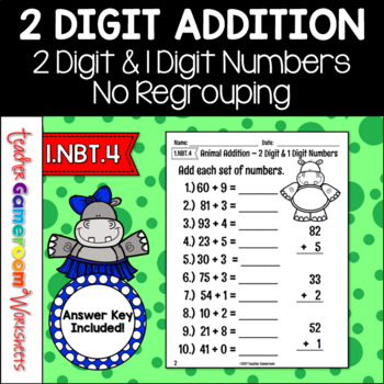 2 Digit and 1 Digit Addition with No Regrouping Worksheet