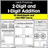 Adding a 2-Digit and 1-Digit Number - Worksheets and NO-PREP Game